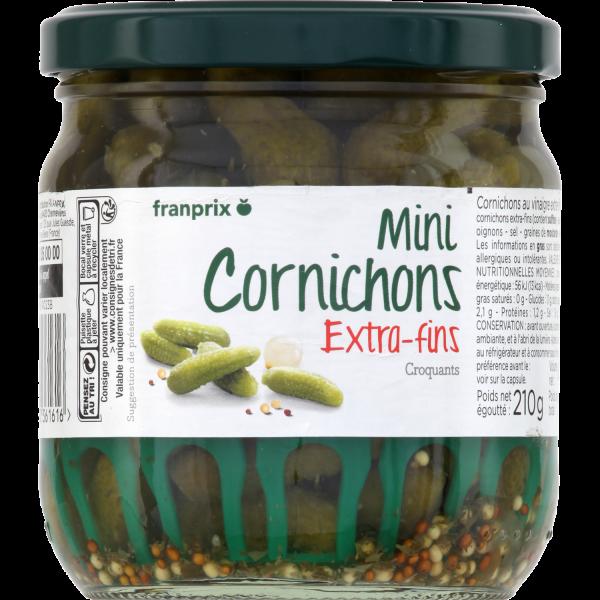 Photo Cornichons au vinaigre extra-fins franprix