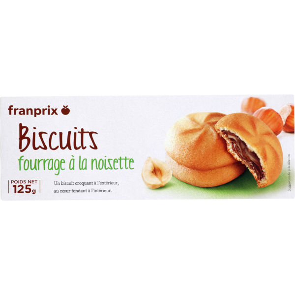 Photo Biscuits sablés fourrés noisette franprix