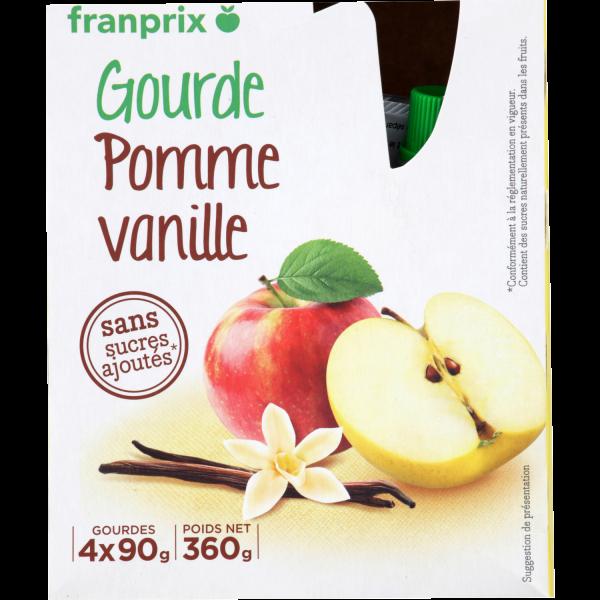 Photo Gourdes compote pomme vanille franprix