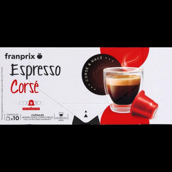 Photo Capsules café espresso corsé franprix