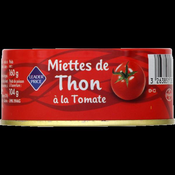Photo Miettes de thon à la tomate Leader price