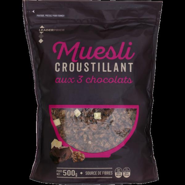 Photo Muesli 3 chocolats Leader price