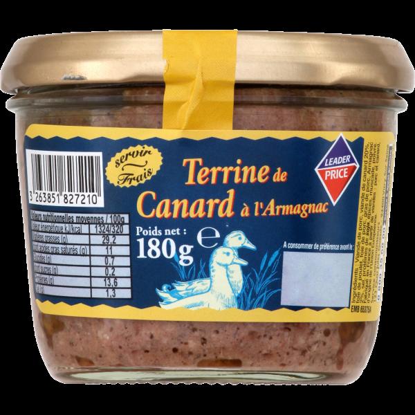 Photo Terrine de canard à l'armagnac Leader price