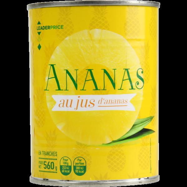 Photo Ananas au jus d'ananas  Leader price