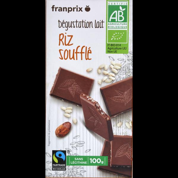 Photo Chocolat lait cacao riz bio franprix
