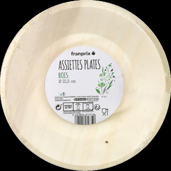 Photo Assiette en bois 21,5cm franprix