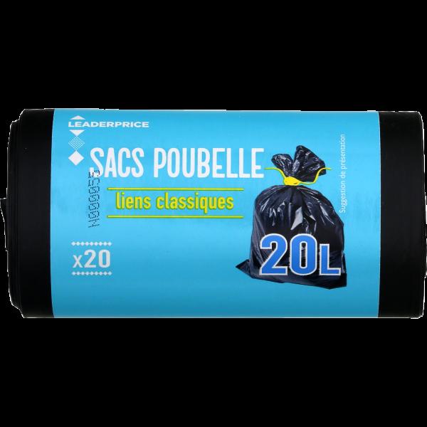 Photo Sacs poubelles liens classiques 20L Leader price