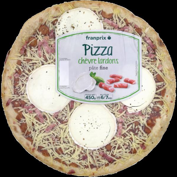 Photo Pizza chèvre lardons pâte fine franprix