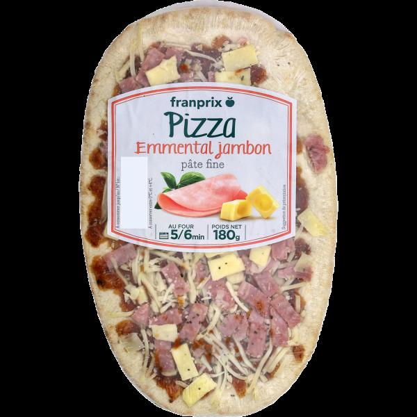 Photo Pizza jambon fromage pâte fine franprix