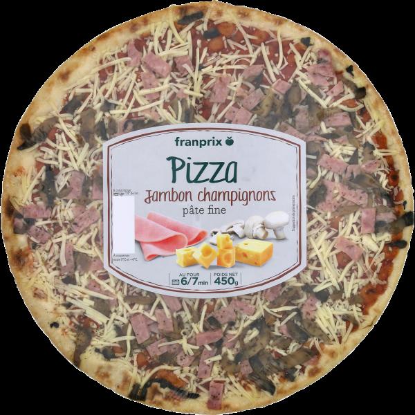 Photo Pizza fine jambon champignons franprix