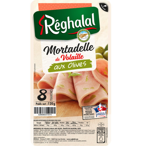Photo Tranches mortadelle olive Réghalal