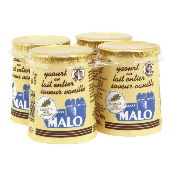 Photo Yaourt au lait entier goût vanille Malo
