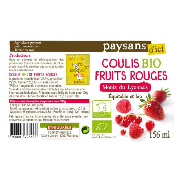 Photo coulis bio fruits rouges ethiquable Paysans d'Ici